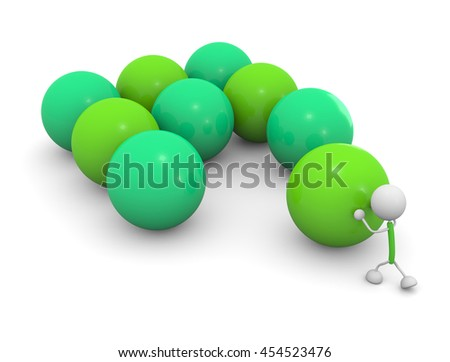 Pushing a ball.3D illustration