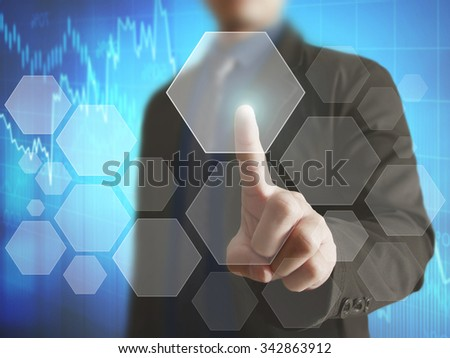 pushing a button on a touch screen  - stock photo