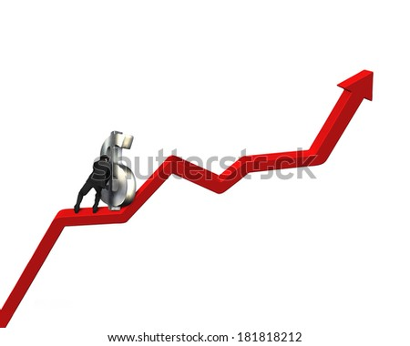 Pushing 3D money symbol up on growing red arrow - stock photo