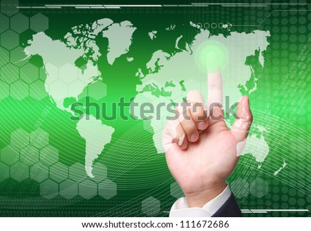 pushing on map abstract background graphics created with technology - stock photo