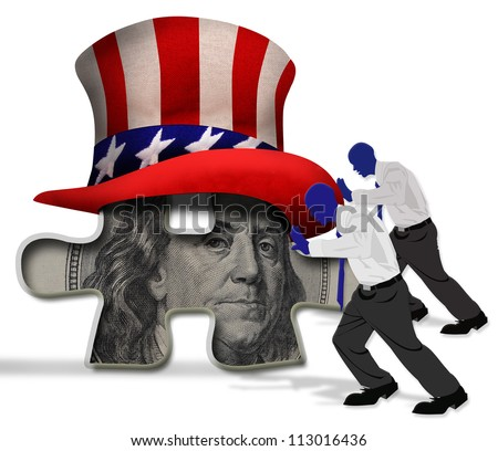 Pushing the American Puzzle. - stock photo