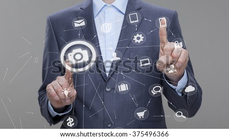 Pushing touch button - stock photo
