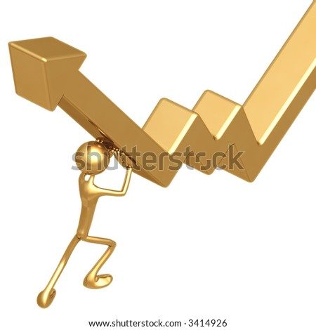 Pushing Up Market Arrow - stock photo