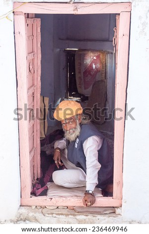 PUSHKAR, INDIA- JANUARY 6: Unidentified people in are begining a new day in Pushkar on January 6, 2009 in Pushkar, Rajastan, India. - stock photo