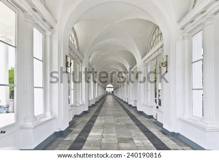 PUSHKIN -JUNE 10. Interior of Cameron Gallery, the most prominent of Charles Cameron (Scottish architect,1745-1812) creations at Tsarskoe Selo. On June 10, 2013 in Catherine Park, Pushkin, Russia. - stock photo
