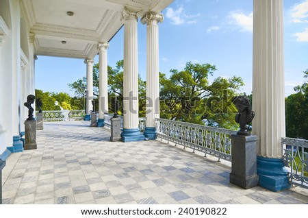 PUSHKIN -JUNE 6. Open terrace of Cameron Gallery, the most prominent of Charles Cameron (Scottish architect,1745-1812) creations at Tsarskoe Selo. On June 6, 2013 in Catherine Park in Pushkin, Russia - stock photo