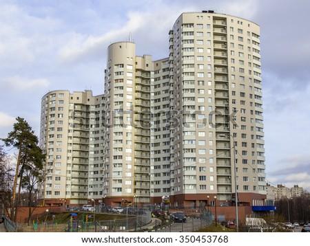pushkino russia on december 11 2015 new apartment multi storey building