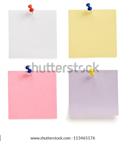 pushpin and note paper isolated on white background - stock photo