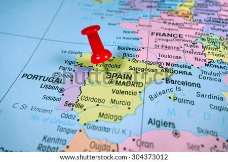pushpin marking on  Spain map - stock photo