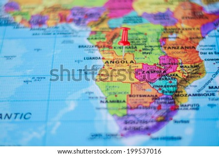 pushpin marking the location,Angola - stock photo