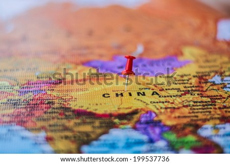 pushpin marking the location, China - stock photo