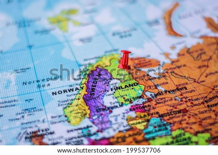 pushpin marking the location, Finland - stock photo