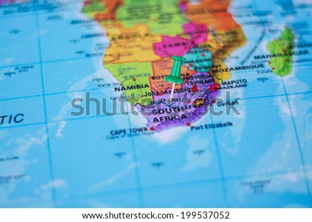 pushpin marking the location,Sout Africa - stock photo