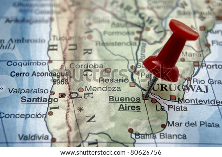 Pushpin on the map - Buenos Aires - stock photo
