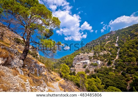 Pustinja Blaca canyon hermitage on Brac island, Dalmatia, Croatia