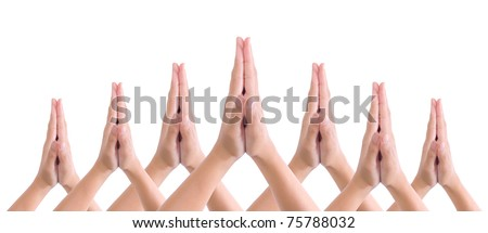 put hands together in salute - stock photo