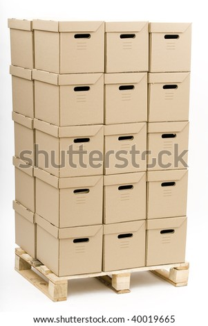 put on wooden palette in parallelogram cardboards - 2 on 3 on 5 boxes on height - stock photo
