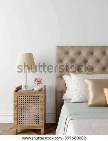Put your creation on this empty area. Bedroom, wardrobe and a double bed. 3D illustration