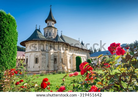 Putna Monastery,in Bucovina, Romania was built by Voievod and Saint Stephen the Great between 1466 and 1469, and was the cultural centre for medieval Moldova, - stock photo