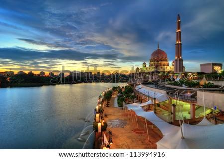 Putra Mosque in Putrajaya, Malaysia at dusk - stock photo