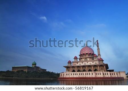 Putra Mosque is the principal mosque of Putrajaya, Malaysia. - stock photo