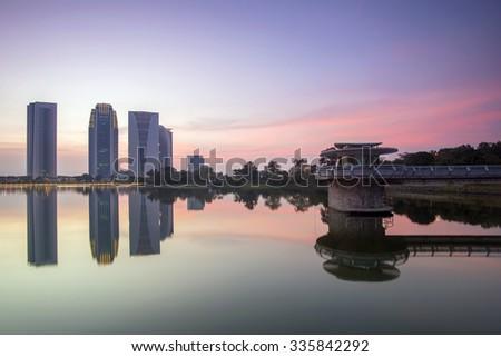 Putrajaya Dam during sunset - stock photo