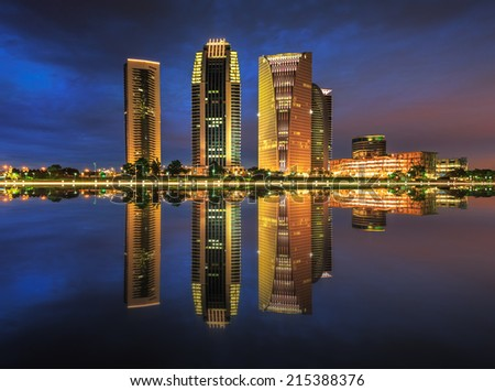 Putrajaya Iconic Tower during a serene evening. - stock photo