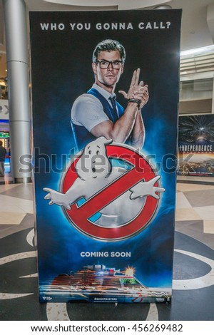 PUTRAJAYA, MALAYSIA - July 20, 2016: Ghostbusters poster displayed at Alamanda Putrajaya Mall. Ghostbusters is a supernatural comedy film and reboot of the Ghostbusters franchise Directed by Paul Feig