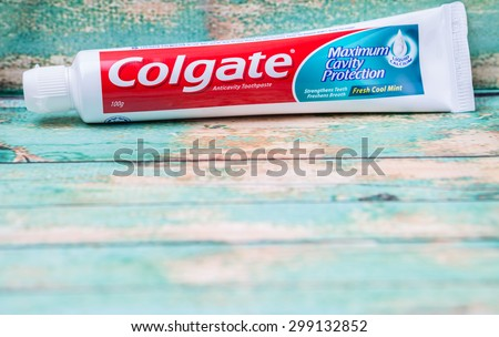 PUTRAJAYA, MALAYSIA - JULY 22ND, 2015. Colgate tooth paste. The Colgate-Palmolive Company is an American multinational consumer products company producing household, health care and personal products.
