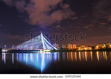 PUTRAJAYA, MALAYSIA - JULY 23: The modern design of Seri Wawasan Bridge on July 23, 2010 in Putrajaya.  Putrajaya is a planned city that serves as the federal administrative centre of Malaysia