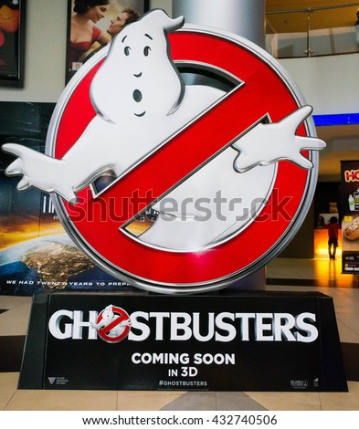 PUTRAJAYA, MALAYSIA - June 4, 2016: Ghostbusters poster displayed at Alamanda Putrajaya Mall. Ghostbusters is a supernatural comedy film and reboot of the Ghostbusters franchise Directed by Paul Feig - stock photo