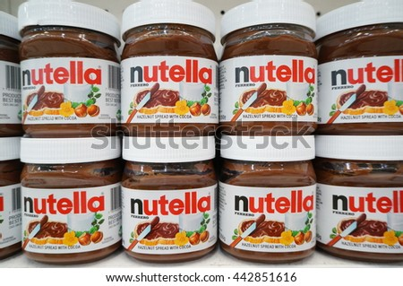 PUTRAJAYA, MALAYSIA - JUNE 25, 2016: Jar of Nutella Hazelnut at the hypermarket in Putrajaya, Malaysia. Nutella is the brand name of a chocolate hazelnut flavored spread by the Italian company Ferrero