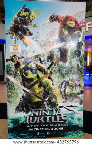 PUTRAJAYA, MALAYSIA - June 4, 2016: Ninja Turtle poster displayed at Alamanda Putrajaya Mall. Teenage Mutant Ninja Turtles Out of the Shadows is directed by Dave Green and in theaters on June 3, 2016 - stock photo