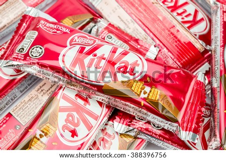 PUTRAJAYA, MALAYSIA, MARCH 7 2016. Kit Kat,  is chocolate wafer covered with bar created in 1911 by Rowntree's of York, England. - stock photo