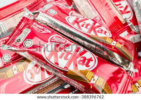 PUTRAJAYA, MALAYSIA, MARCH 7 2016. Kit Kat,  is chocolate wafer covered with bar created in 1911 by Rowntree's of York, England.