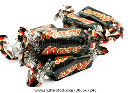 PUTRAJAYA, MALAYSIA- MARCH 7, 2016: Mars chocolate bar on white background. Mars bars are produced by Mars Incorporated. The first Mars bar was produced in England in 1932 - stock photo
