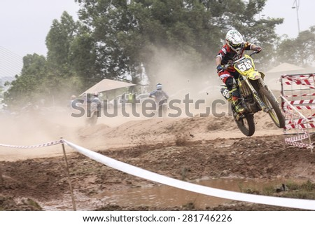 PUTRAJAYA, MALAYSIA - 24 MAY 2015. A panning motocross at Festival Belia Putrajaya 2015 . Festival Belia held at Putrajaya annually to attract youngster to get active and healthy life style.   - stock photo