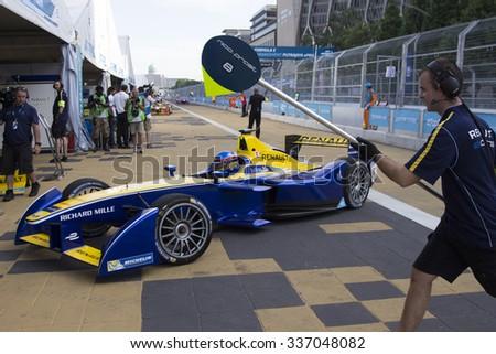 Putrajaya, Malaysia -? November 7, 2015 : Nicolas Prost of Team Renault DAMS enters pit garage at FIA Formula-e ePrix Championship Putrajaya, Malaysia - stock photo