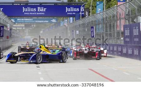 Putrajaya, Malaysia -? November 7, 2015 : Nicolas Prost of Team Renault DAMS enters turn 1 at FIA Formula-e ePrix Championship Putrajaya, Malaysia - stock photo