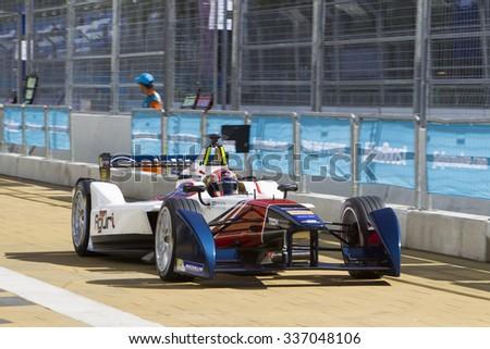 Putrajaya, Malaysia - November 7, 2015 : Portuguese Antonio Da Costa of Team Aguri exits pit at FIA Formula-e ePrix Championship Putrajaya, Malaysia - stock photo