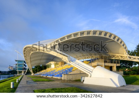 PUTRAJAYA, MALAYSIA - NOVEMBER 22, 2015 : Water Sport Center, located at Putrajaya, Malaysia, captured in early morning with blue sky.
