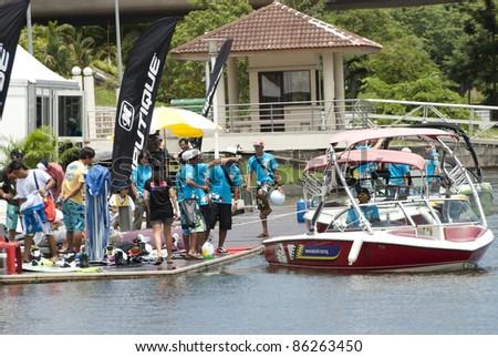 PUTRAJAYA, MALAYSIA - OCTOBER 9: Crew on duty during 2011 IWWF Asian Waterski & Wakeboard Championships in Putrajaya, Malaysia on October 9, 2011. - stock photo