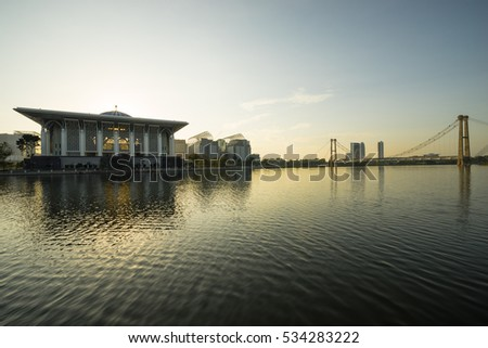 PUTRAJAYA, MALAYSIA - 10TH JANUARY 2016; Sunrise view in Putrajaya - a planned city, 25 km south of Kuala Lumpur, that serves as the federal administrative centre of Malaysia.
