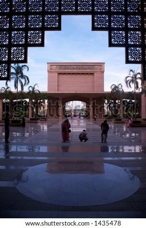 Putrajaya mosque in Kuala Lumpur, Malaysia. - stock photo