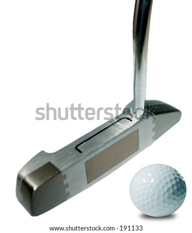 putter and ball - stock photo