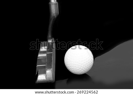 putter and ball , golf club - stock photo