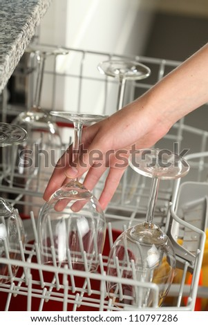 Putting dirty wine glasses into a dishwasher