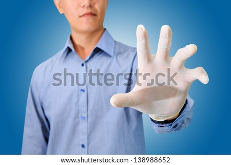 putting gloves - stock photo