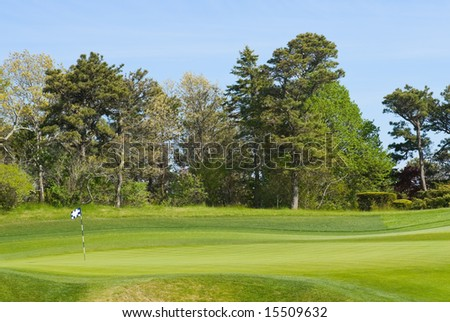 Putting green with flag at golf course, country club - stock photo