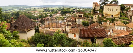 Puy-L'Evegue town, view on Valley of  Lot River, Province Cahors, France
